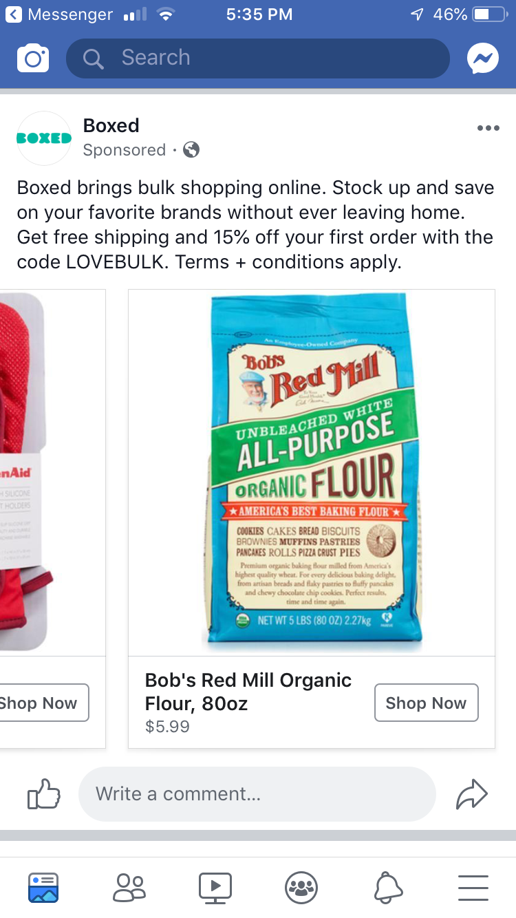 Boxed Facebook ad